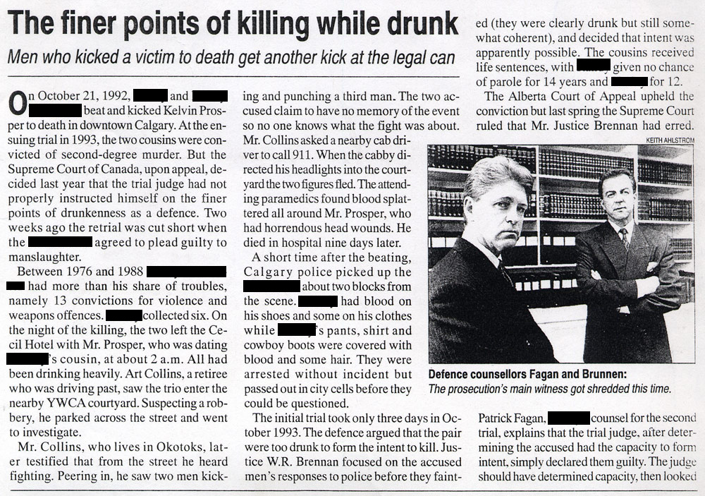 Finer points of killing while drunk