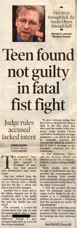 Teen found not guilt in fatal fist fight